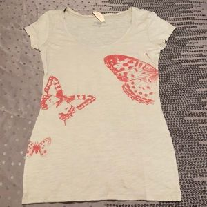 Victoria's Secret Tan Burnout Butterfly Pocket Tee